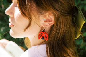 Beaded Lady Bug Drop Earrings
