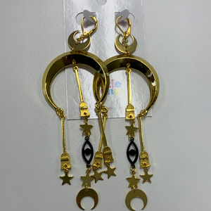 gold moon, star, broom, eye drop earrings