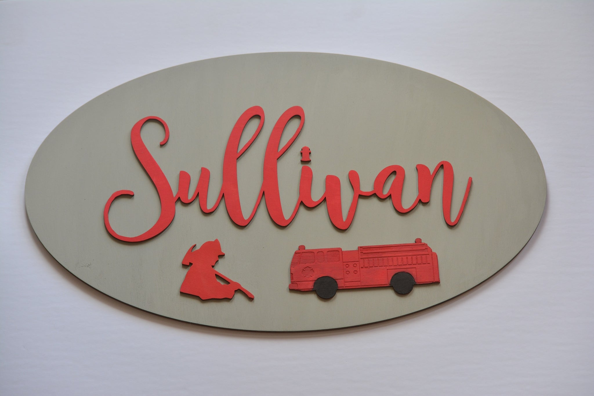 Fire Fighter Theme Name Sign