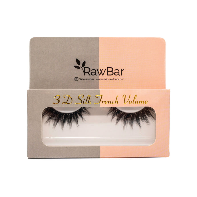 Raw Bar 3D Silk French Volume Eyelashes-Cruelty free-Black/Clear band
