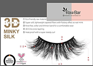 RawBar 3D Silk Latin Volume Eyelashes-Cruelty free-Black/Clear band