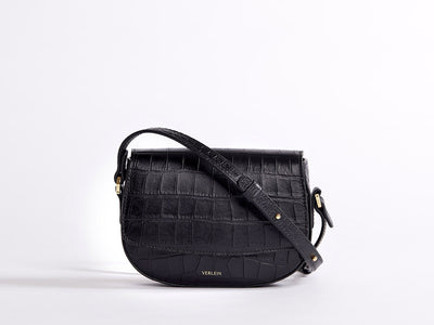 Ana  Mini Crossbody by Verlein, in Matte Black.  Front view.