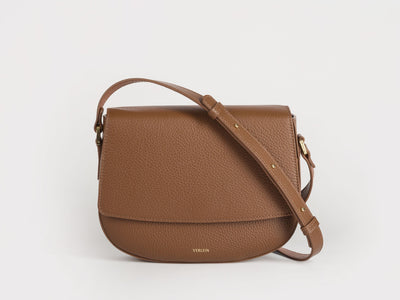 Ana  Crossbody by Verlein, in Chocolate Brown.  Front view.