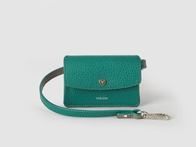 Ines  Coinpurse from Verlein, with Strap, in Emerald Green.  Front view.