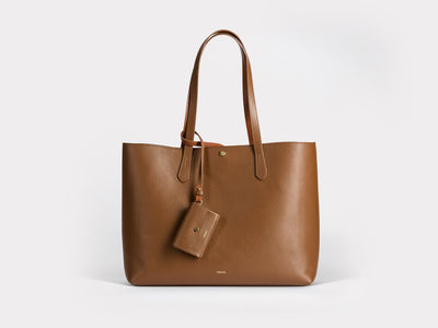 Verlein Julia  Tote Bag, in Chocolate Brown.  Front View with optional coinpurse attached.