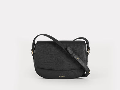 Ana Mini Crossbody by Verlein, in Jet Black / Orchid.  Front View.