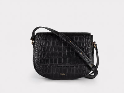 Ana  Crossbody by Verlein, in Matte Black.  Front view.