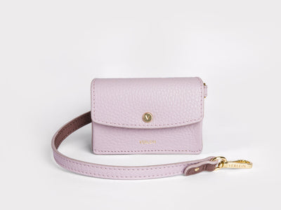 Ines  Coinpurse from Verlein, with Strap, in Pink.  Front view.