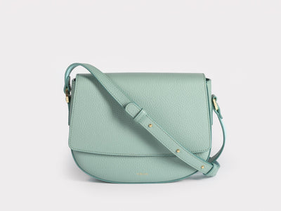 Ana  Crossbody by Verlein, in Dusty Mint.  Front view.