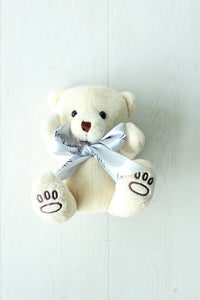 Teddy Bear with Silver Ribbon