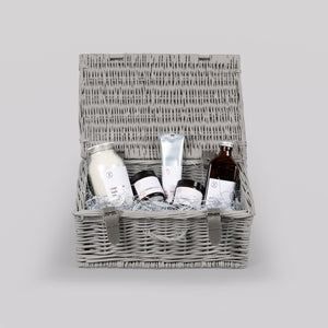 Elixir medium grey hamper with elixir products