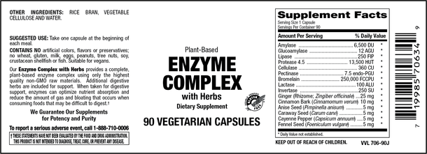 Elixir Enzyme Complex with Botanicals 90 Veg Caps