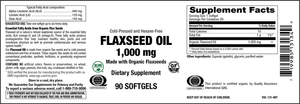 Elixir Flax Seed Oil 1,000 mg Cold Pressed and Hexane Free 90 Softgels -