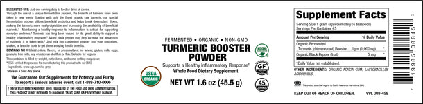 Elixir Fermented Organic Turmeric Booster Powder with Black Pepper