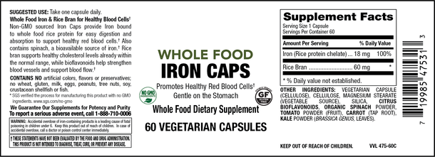 Elixir Whole Food Iron- 60 vegi caps