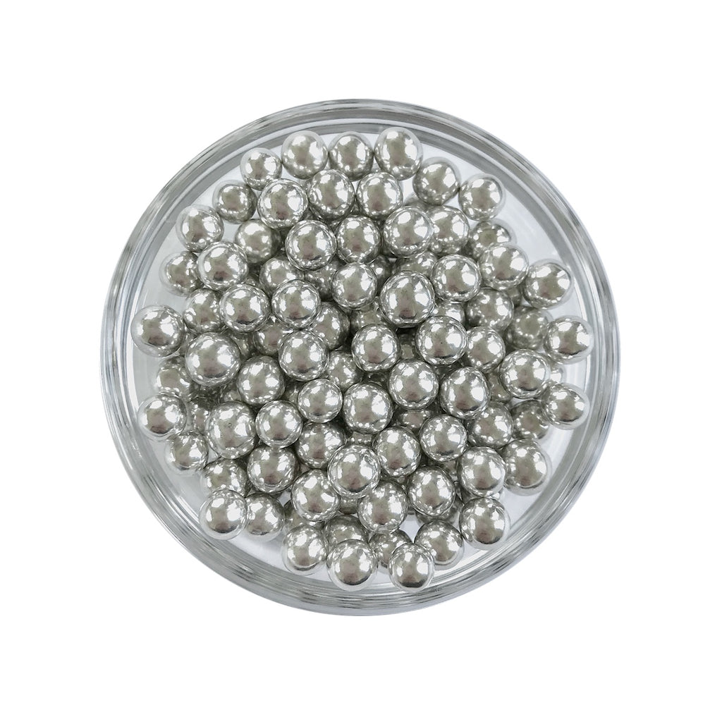 Metallic Silver Dragees, 6mm round