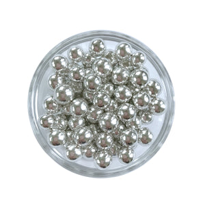 Metallic Silver Dragees, 8mm round