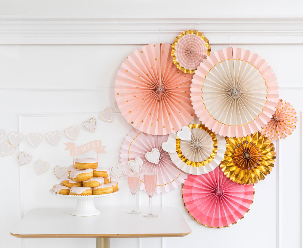 Pink and Gold Party Paper Fan Rosettes