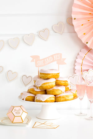 She Said Yes Pastel Pink Cake Topper