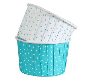Teal Blue & White Polka Dot Treat Cups, Ice Cream Cups, Cupcake Cases