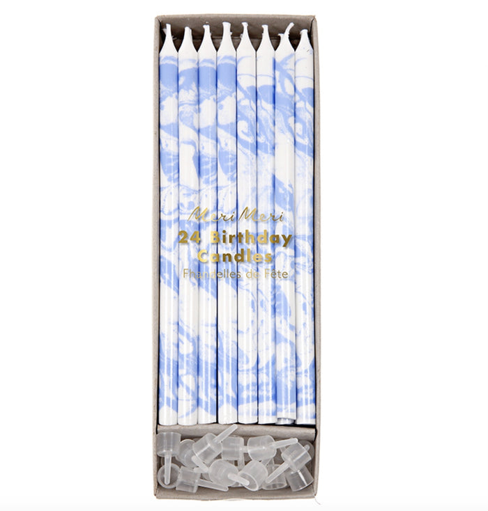 Tall Blue Marble Birthday Candles, 24 ct.