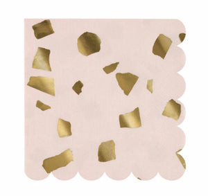 Blush Pink and Gold Paper Napkins