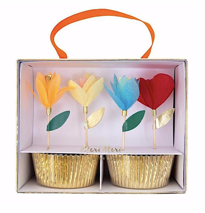 Bright Tissue Paper Flower Cupcake Kit