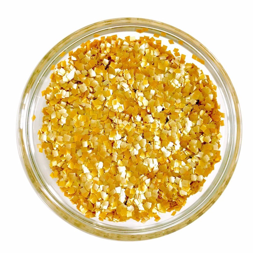 Edible Metallic Gold Confetti Square Glitter Sprinkles