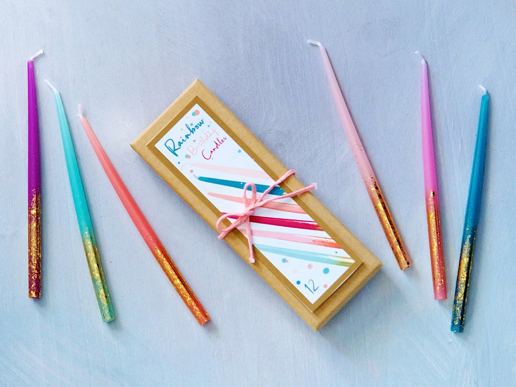Tall Rainbow and Gold Birthday Candles, 12 ct. by Glitterville
