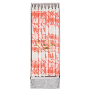 Tall Bright Coral Birthday Candles, Meri Meri