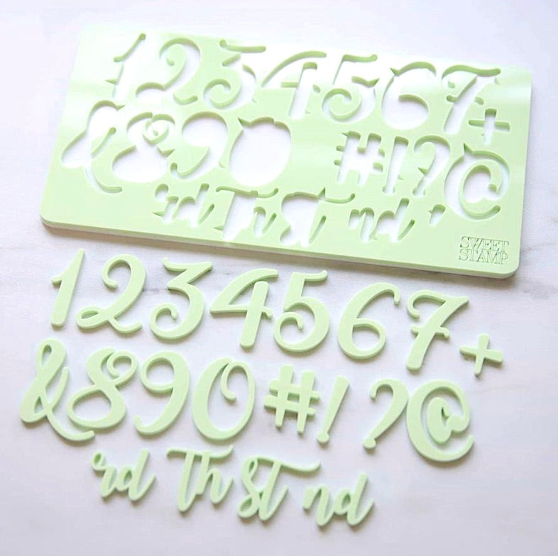 Sweet Stamp- Curly Numbers & Symbols Set