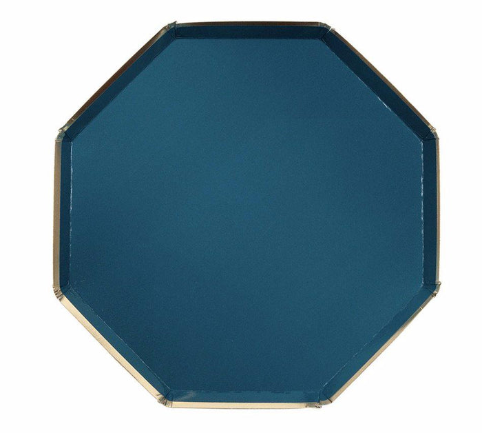 Dark Teal and Gold Paper Plates by Meri Meri