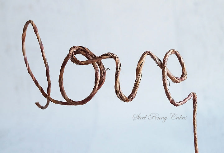 """love"" Rustic Wire Wedding Cake Topper"