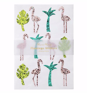 Tropical Flamingo Glitter Sticker Sheets, Meri Meri