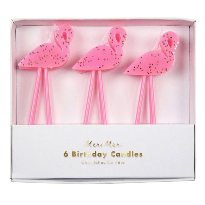 Pink Flamingo Birthday Candles, Set of 6