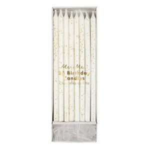 Tall Gold Glitter Birthday Candles, Meri Meri