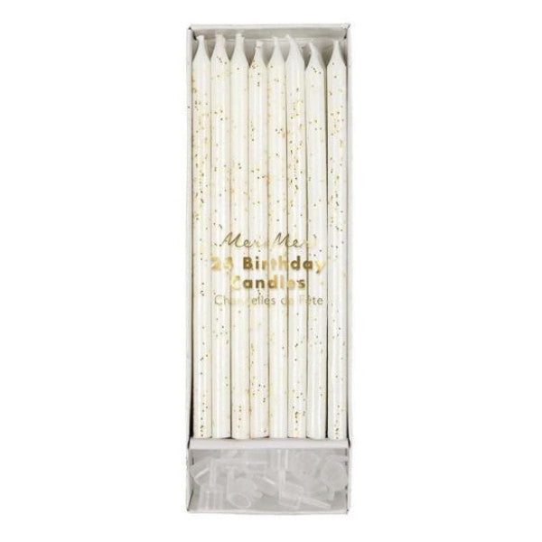 Tall Gold Glitter Birthday Candles, 24 ct.