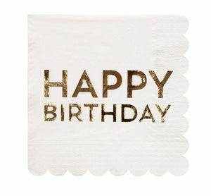 Gold Foil Happy Birthday Napkin, Meri Meri