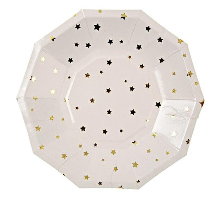 Toot Sweet Gold Stars Paper Party Plates, Meri Meri
