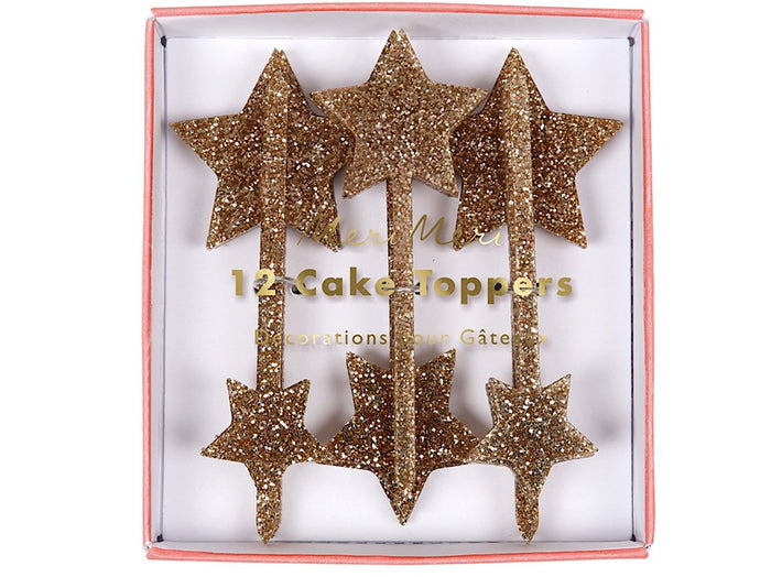 Gold Glitter Acrylic Star Cake Toppers