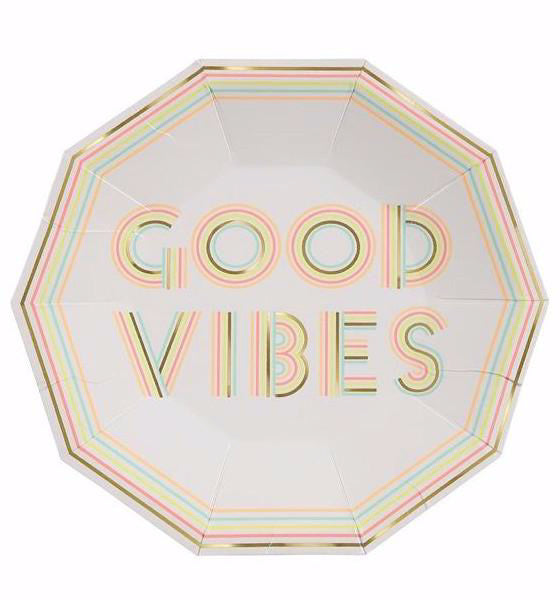 """Good Vibes"" Paper Party Plates By Meri Meri"