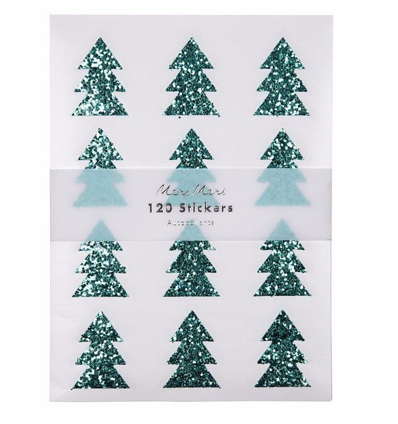 Green Glitter Christmas Tree Stickers by Meri Meri