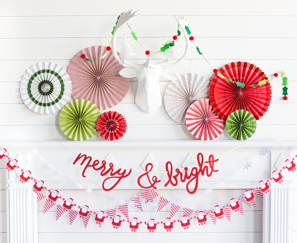 Christmas Holiday Party Paper Fan Rosettes