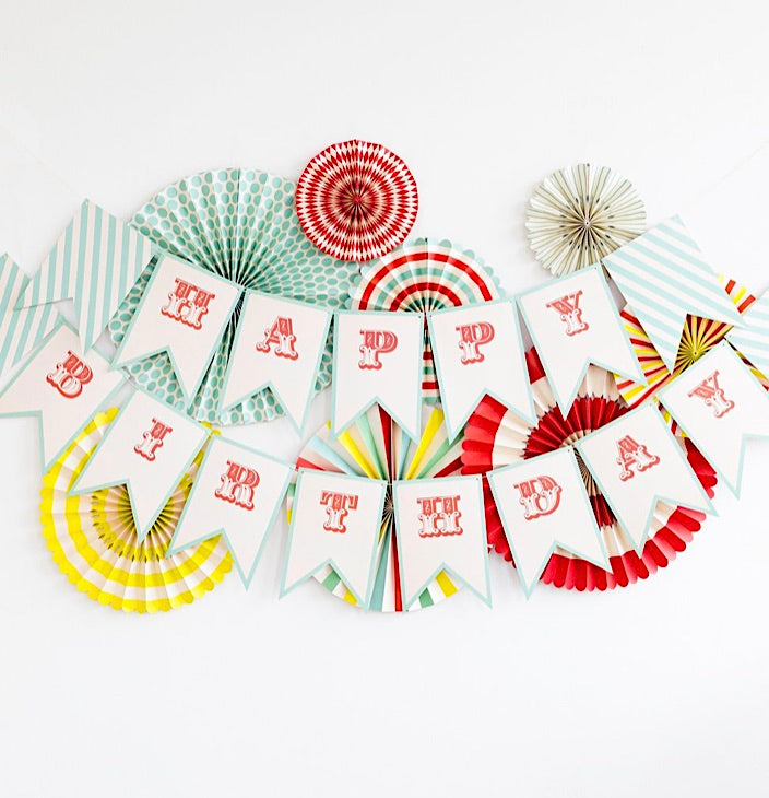 Vintage Circus Carnival Party Happy Birthday Banner