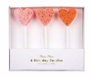 Pink Heart Birthday Candles, Meri Meri