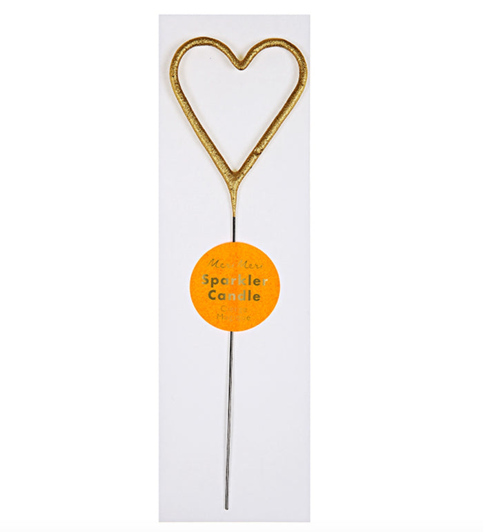 Gold Heart Sparkler Birthday Candle