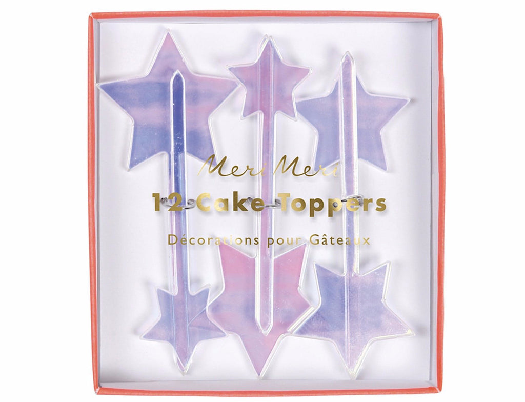 Iridescent Acrylic Star Cake Toppers