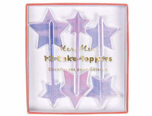 Iridescent Acrylic Star Cake Toppers by Meri Meri