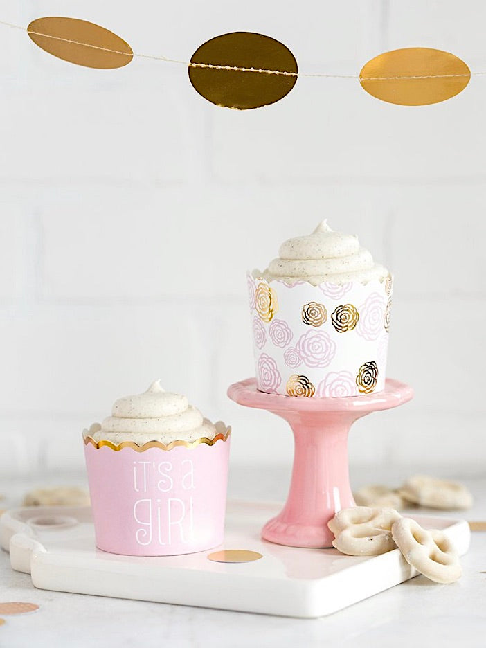 It's a Girl! Pastel Pink and Gold Baking Cups (50)