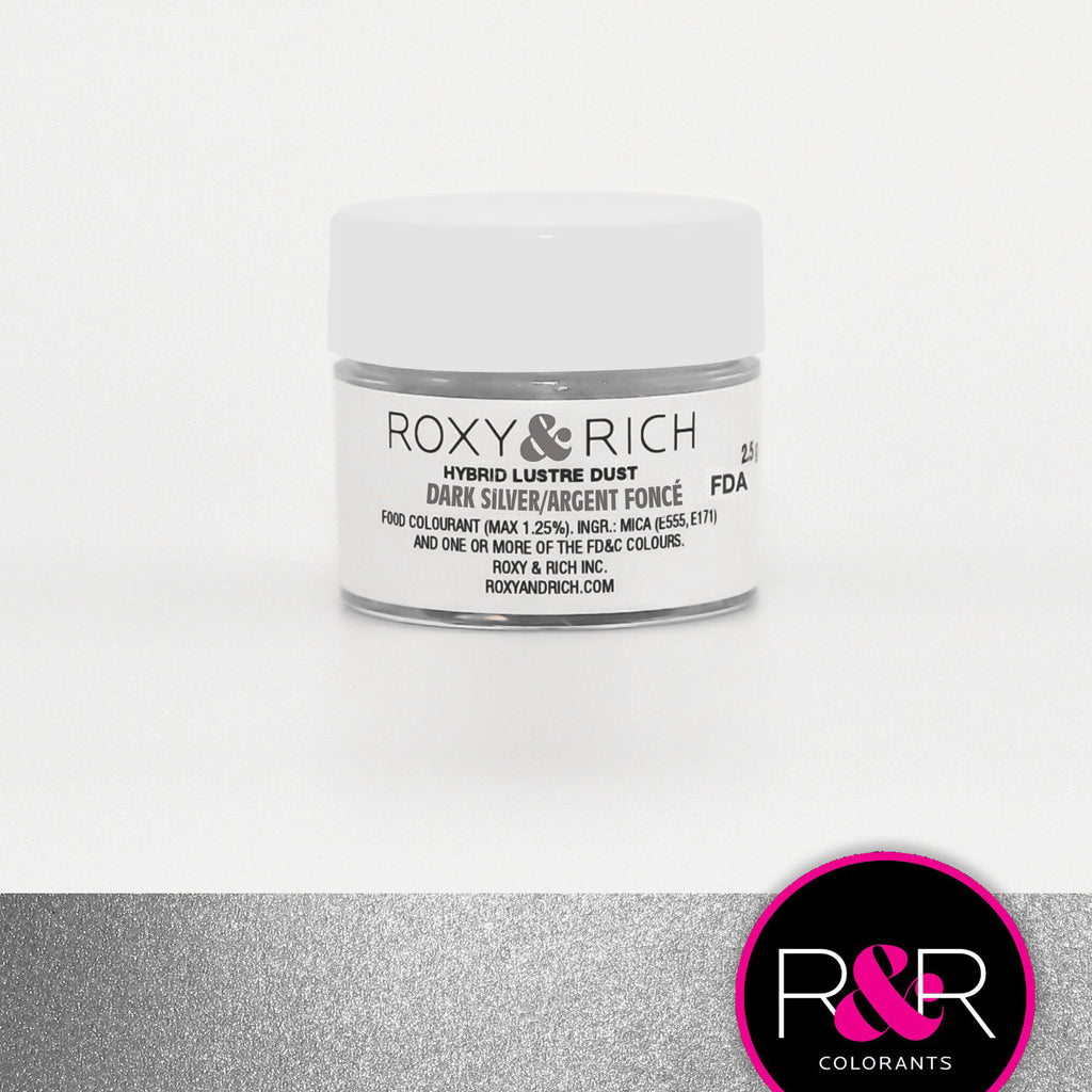 Roxy and Rich Hybrid Luster Dust- Dark Silver 2.5g